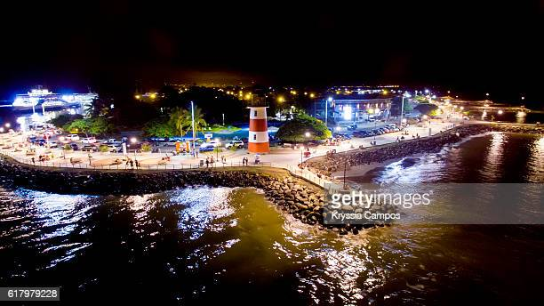 """Elevated view over Puntarenas Lighthouse at the """"Paseo de los Turistas"""""""