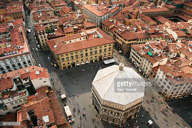 Elevated view over The Baptistery in Florence