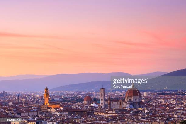 elevated view over the city of florence at sunset - peach colour stock pictures, royalty-free photos & images
