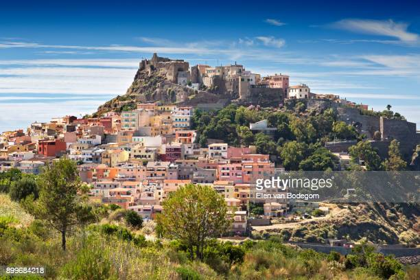 Elevated view over the colourful town of Castelsardo on a sunny day in summer