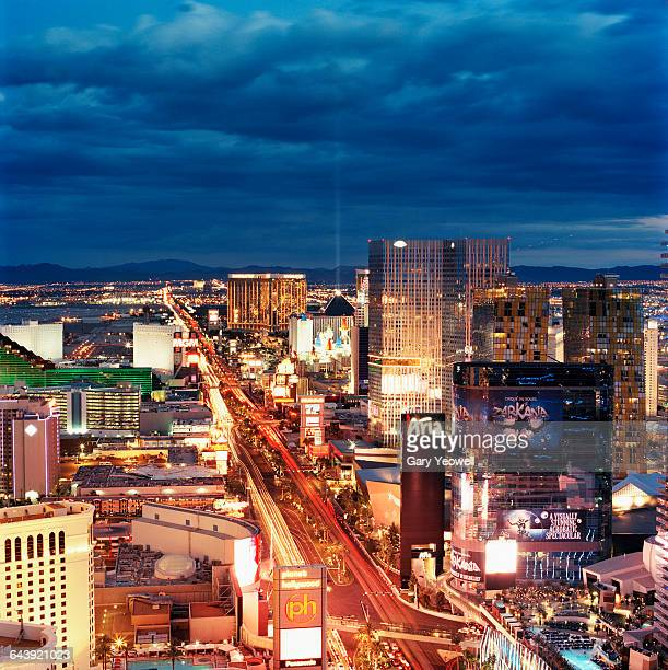 elevated view over the strip in las vegas - las vegas boulevard stock pictures, royalty-free photos & images