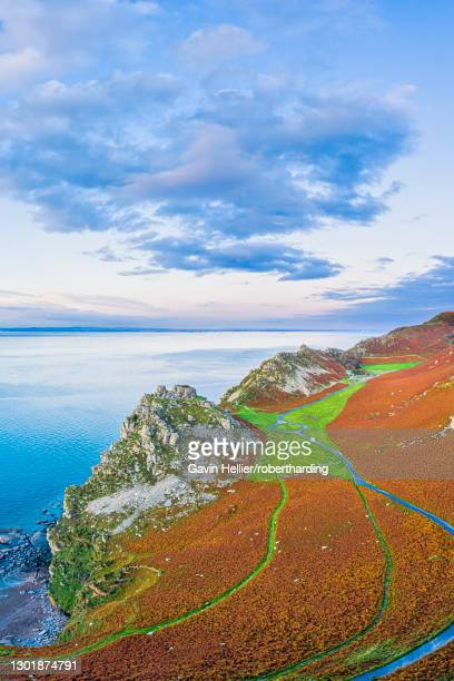 elevated view over the stunning valley of the rocks near lynton, exmoor national park, north devon, england, united kingdom, europe - gavin hellier stock pictures, royalty-free photos & images