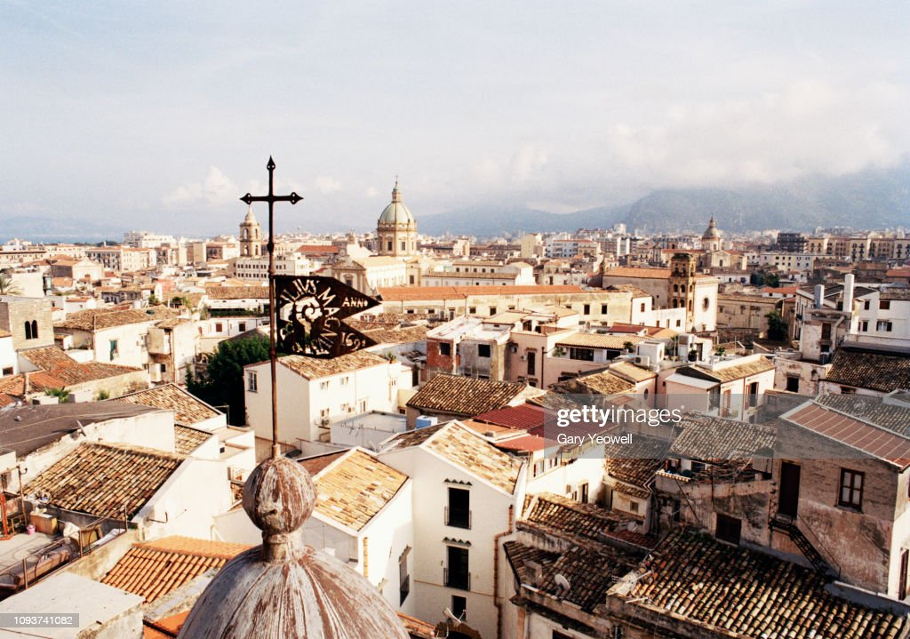 Elevated view over tiled rooftops of Palermo : Stock Photo