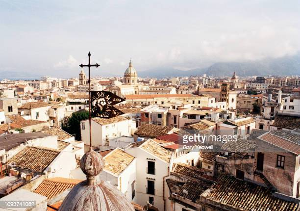 Elevated view over tiled rooftops of Palermo