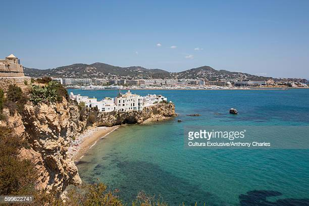 Elevated view to old town, Ibiza, Spain