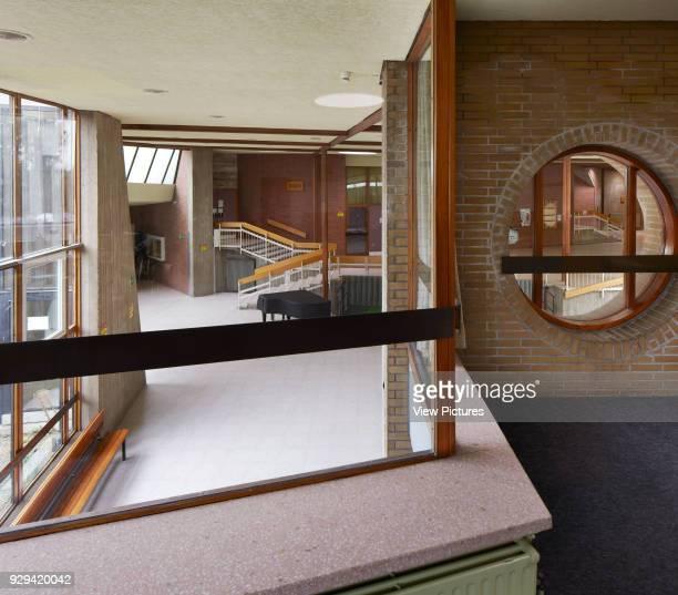 Elevated view towards foyer Scharoun's Marl School Marl Germany Architect Hans Scharoun 1975