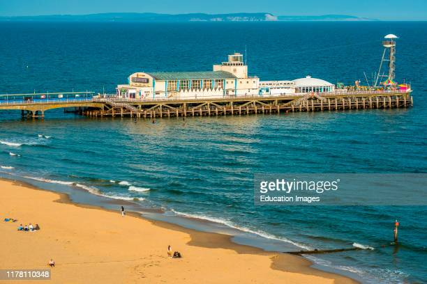 Elevated views of Bournemouth Pier from the cliffs above Dorset England UK