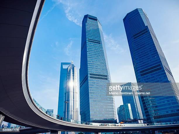 Elevated walkway and skyscrapers in Lujiazui financial district, Shanghai