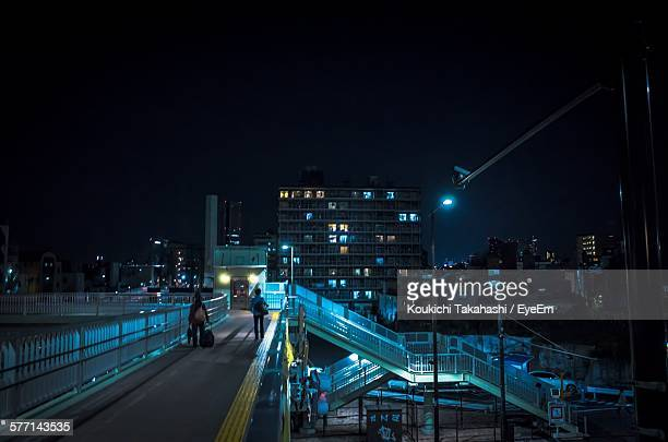 elevated walkway at night - elevated walkway stock pictures, royalty-free photos & images
