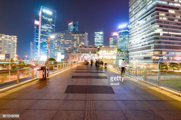 elevated walkway near modern buildings in midtown of modern city