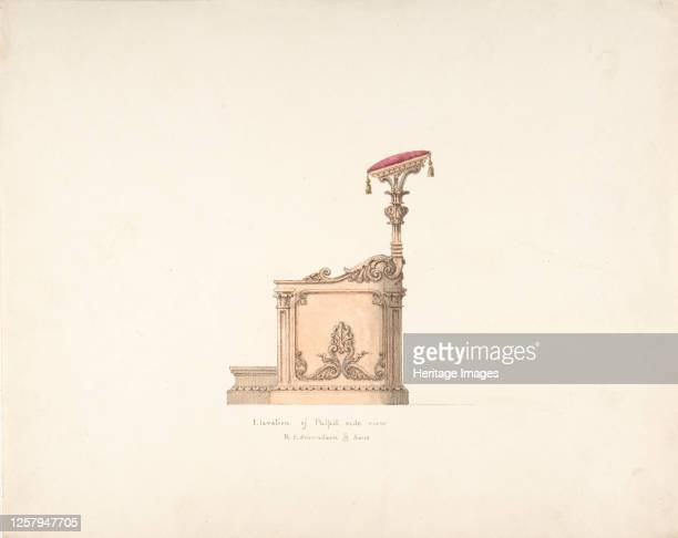 Elevation of a Pulpit Side View R Edmundson Sons early 19th century Artist Anon