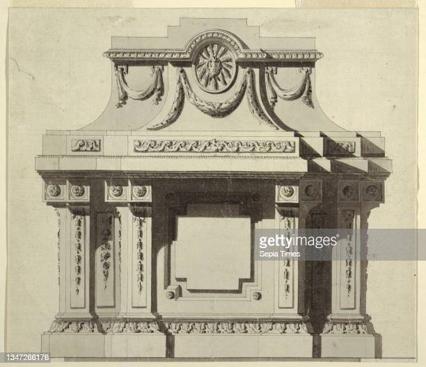 Elevation of a Wall Monument, Jean-Charles Delafosse, French, 1734–1791, Pen and black ink, brush and wash, black chalk on white laid paper, Monument...