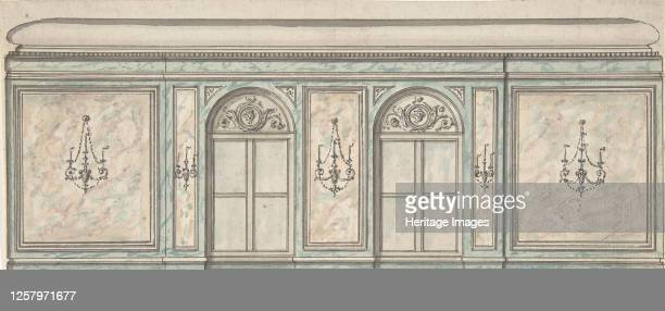 Elevation of a Wall with Two Windows and Five Wall Lights 19th century Artist Anon