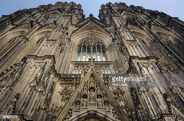elevation of cologne cathedral - cologne cathedral stock photos and pictures