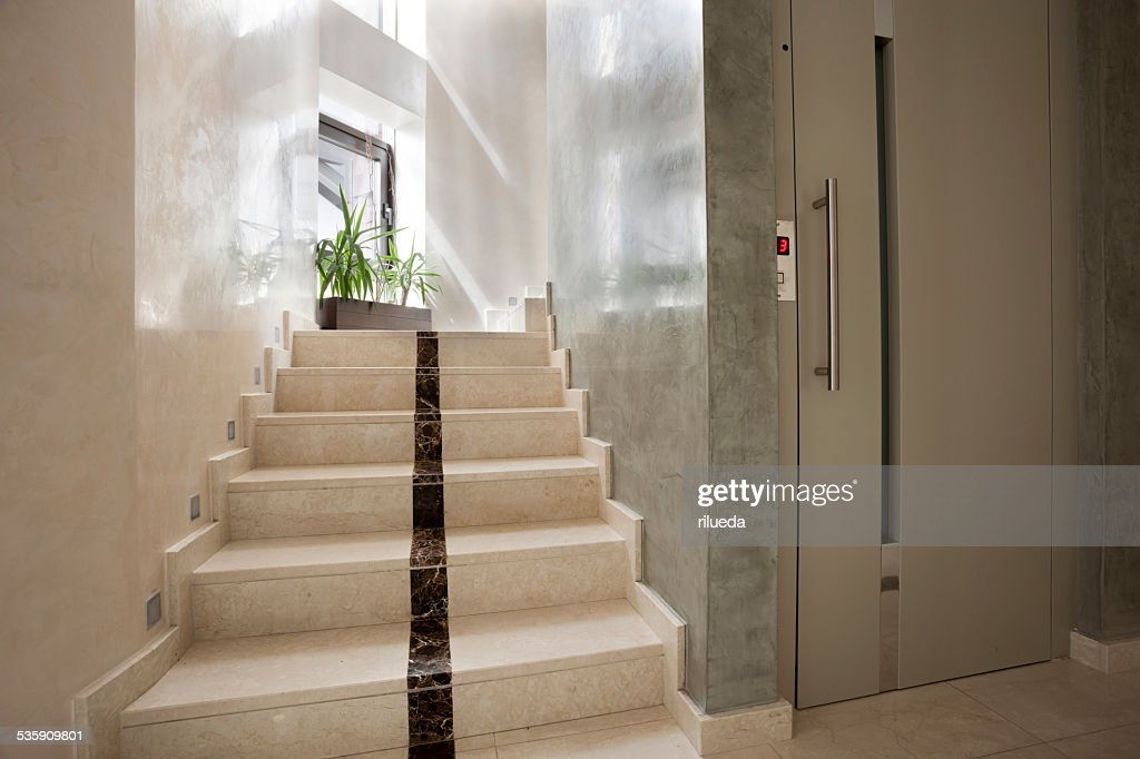Elevator and stairs in building : Stock Photo