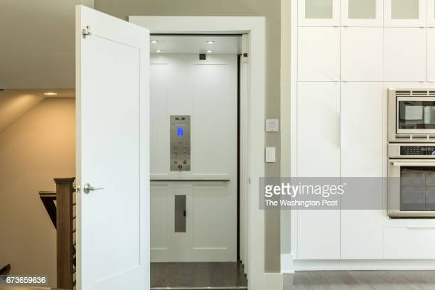 Elevator between the Staircase and Kitchen in the model Townhome at Chevy Chase Lakes on April 12 2017 in Chevy Chase Maryland