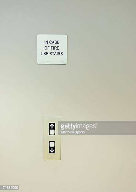 Elevator call buttons and warning sign