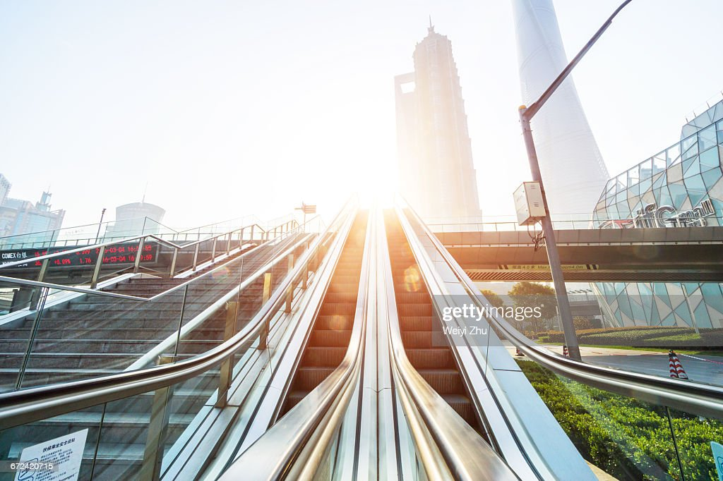 Elevator in Shanghai Lujiazui Financial District : Stock Photo