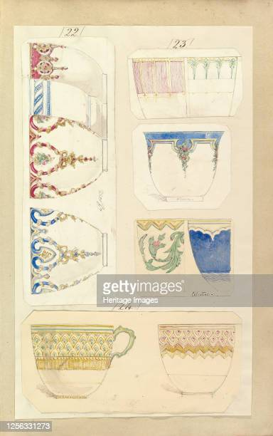 Eleven Designs for Decorated Cups including Venice and Celestial Patterns circa 1852 Artist Alfred Crowquill