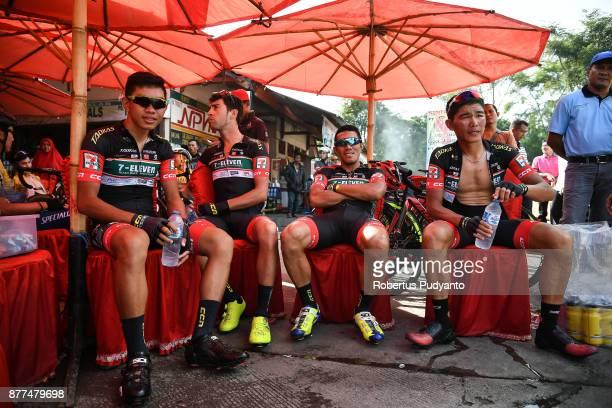 Eleven Roadbike Philippines cyclists prepare during stage 5 of the Tour de Singkarak 2017 Solok CitySolok Selatan 1532 km on November 22 2017 in...