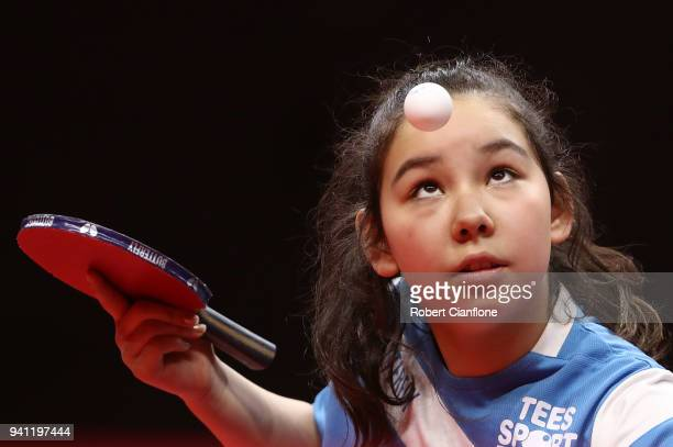Eleven year old Anna Hursey of Wales trains at the table tennis venue at the Oxenford Studios ahead of the 2018 Commonwealth Games on April 3 2018 in...