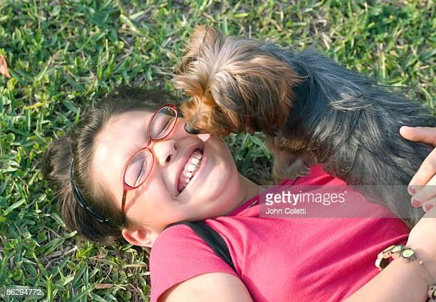 Eleven Year Old Hispanic Female with Pet Dog