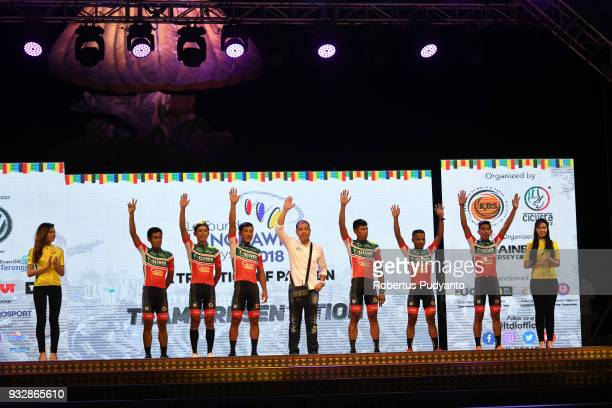 ElevenCliqq Roadbike Philippines riders pose during team presentation ahead of the Le Tour de Langkawi 2018 on March 16 2018 in Langkawi Malaysia
