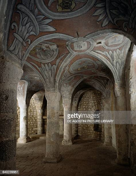Eleventhcentury crypt in the Church of NotreDameduFort 13th century Etampes France