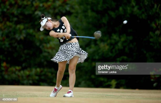 Elevenyear old Amateur Lucy Li of the United States hits a tee shot on the 16th hole during the second round of the 69th US Women's Open at Pinehurst...