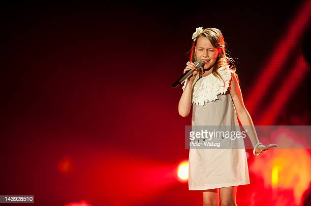 Elevenyearold Gala performs during DSDS Kids 1st Show at Coloneum on May 05 2012 in Cologne Germany