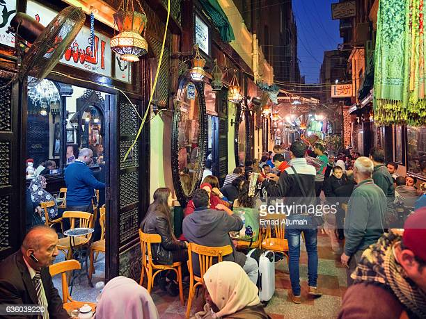 el-fishawi coffee house, khan al-khalili, cairo, egypt - cairo stock pictures, royalty-free photos & images