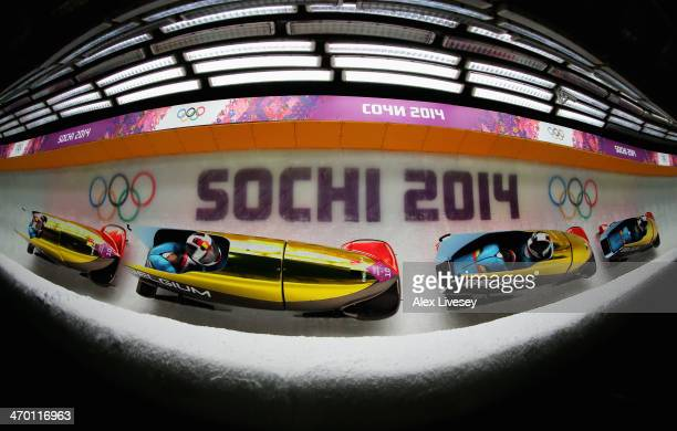 Elfje Willemsen and Hanna Emilie Marien of Belgium team 1 make a run during the Women's Bobsleigh heats on day 11 of the Sochi 2014 Winter Olympics...