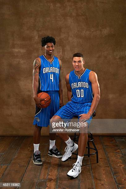 Elfrid Payton and Aaron Gordon of the Orlando Magic poses for a portrait during the 2014 NBA rookie photo shoot on August 3 2014 at the Madison...
