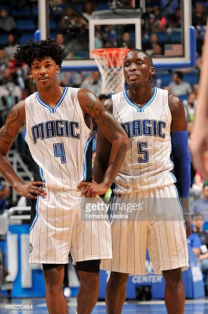 Elfrid Payton and Victor Oladipo of the Orlando Magic are seen during the game against the Boston Celtics on November 29 2015 at the Amway Center in...