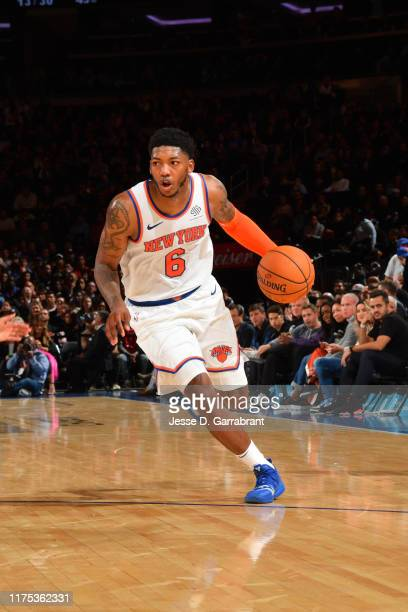 Elfrid Payton handles the ball against the Washington Wizards during a preseason game on October 11 2019 at Madison Square Garden in New York City...