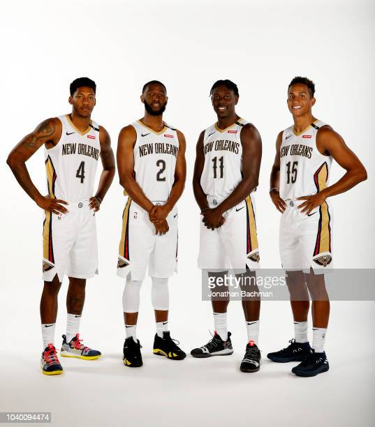 Elfrid Payton Ian Clark Jrue Holiday and Frank Jackson of the New Orleans Pelicans poses for a portrait during the 2018 NBA Media Day on September 24...
