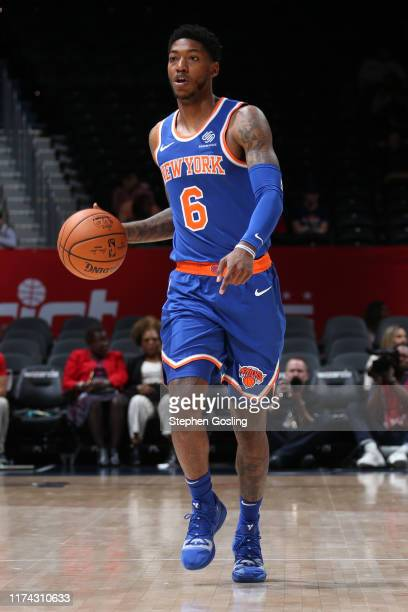Elfrid Payton of New York Knicks dribbles up court against the Washington Wizards during the preseason on October 7 2019 at Capital One Arena in...