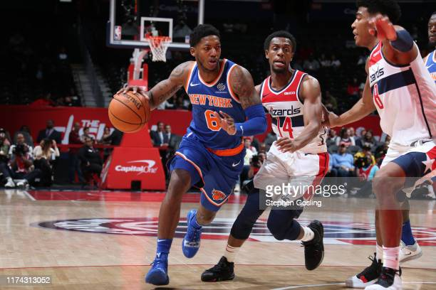 Elfrid Payton of New York Knicks drives to the basket against the Washington Wizards during the preseason on October 7 2019 at Capital One Arena in...