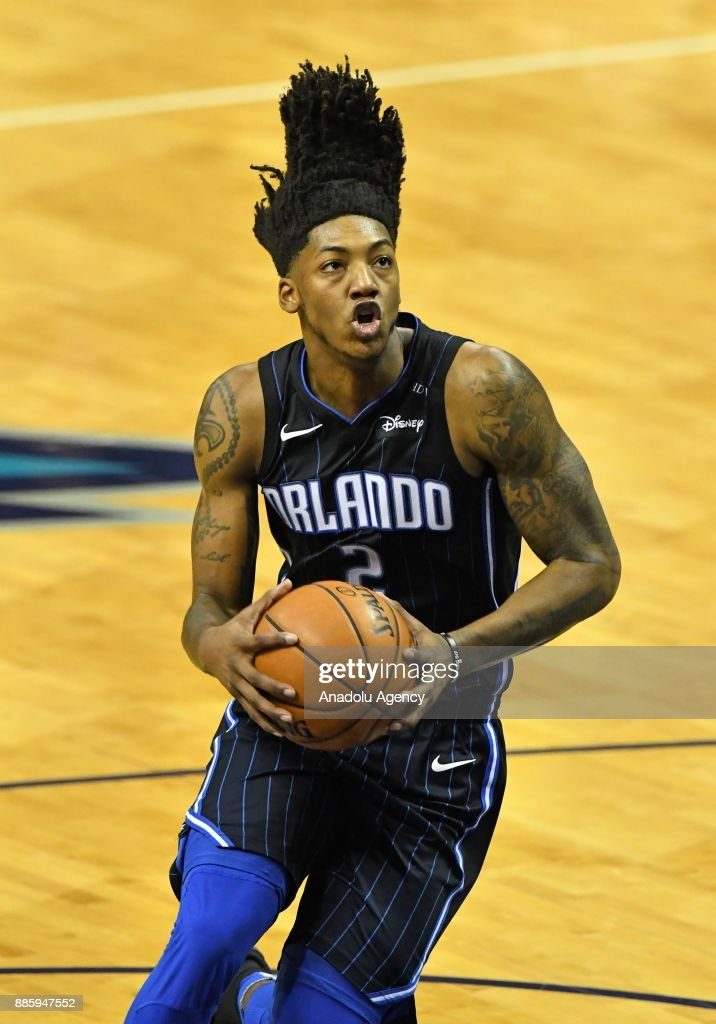 Elfrid Payton of Orlando Magic prepares to score during an NBA match between Orlando Magic and Charlotte Hornets at the Spectrum Arena in Charlotte, NC, United States on December 4, 2017.
