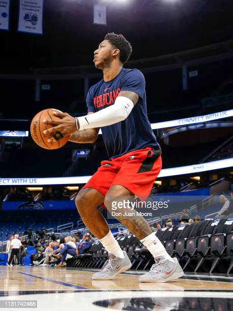 Elfrid Payton of the New Orlean Pelicans warms up before the game against the Orlando Magic at the Amway Center on March 20 2019 in Orlando Florida...