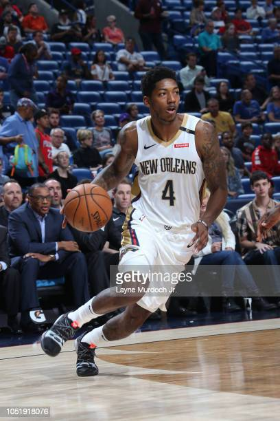 Elfrid Payton of the New Orleans Pelicans dribbles the ball against the Toronto Raptors during a preseason game on October 11 2018 at Smoothie King...