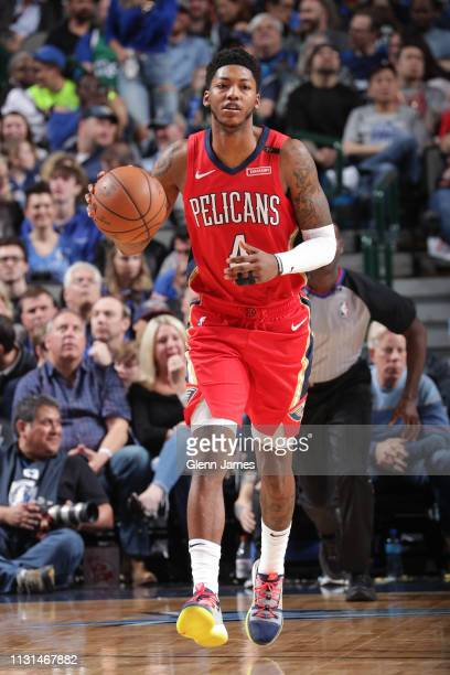 Elfrid Payton of the New Orleans Pelicans dribbles up court against the Dallas Mavericks on March 18 2019 at the American Airlines Center in Dallas...