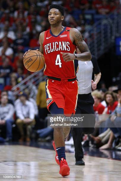 Elfrid Payton of the New Orleans Pelicans drives with the ball during the first half against the Sacramento Kings at the Smoothie King Center on...