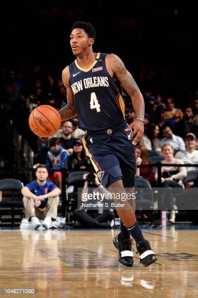 Elfrid Payton of the New Orleans Pelicans handles the ball against the New York Knicks during a preseason game on October 5 2018 at Madison Square...