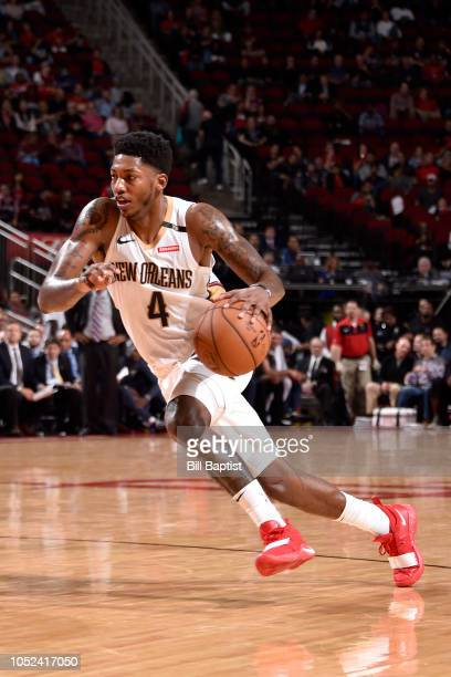 Elfrid Payton of the New Orleans Pelicans handles the ball against the Houston Rockets during a game on October 17 2018 at Toyota Center in Houston...