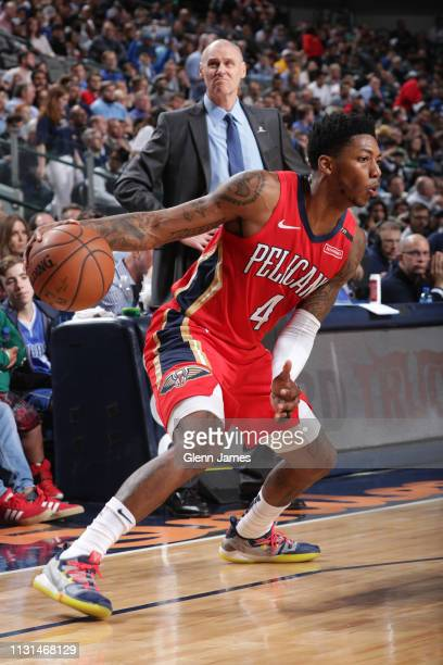 Elfrid Payton of the New Orleans Pelicans handles the ball against the Dallas Mavericks on March 18 2019 at the American Airlines Center in Dallas...