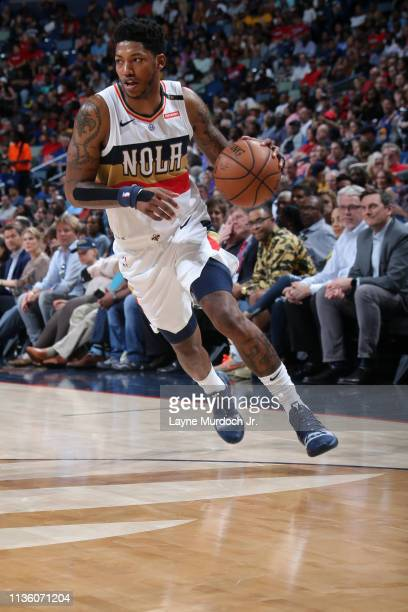 Elfrid Payton of the New Orleans Pelicans handles the ball against the Golden State Warriors on April 9, 2019 at the Smoothie King Center in New...