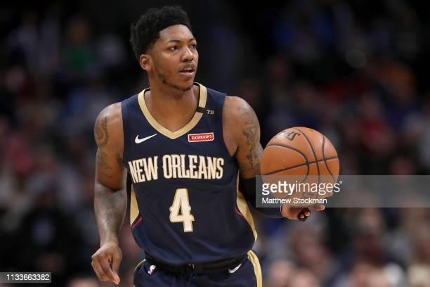 Elfrid Payton of the New Orleans Pelicans plays the Denver Nuggets at the Pepsi Center on March 02 2019 in Denver Colorado NOTE TO USER User...