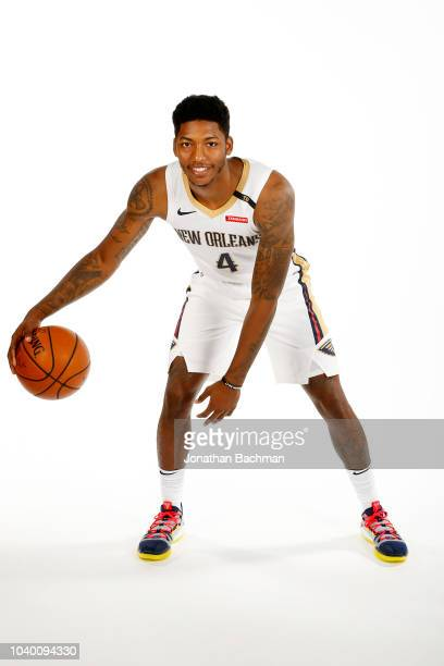 Elfrid Payton of the New Orleans Pelicans poses for a portrait during the 2018 NBA Media Day on September 24, 2018 at the Ochsner Sports Performance...