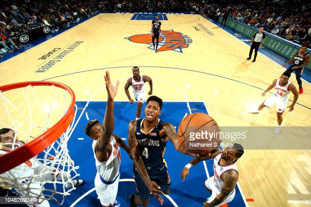 Elfrid Payton of the New Orleans Pelicans shoots the ball against the New York Knicks during a preseason game on October 5 2018 at Madison Square...